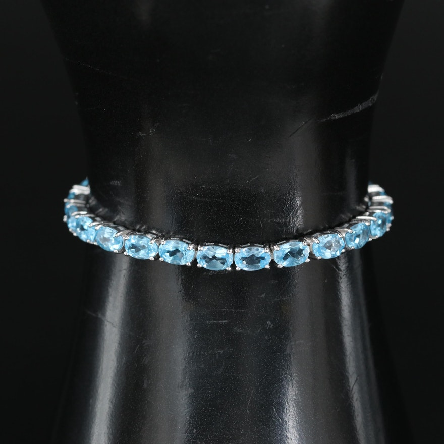 Sterling Swiss Blue Topaz Bolo Bracelet