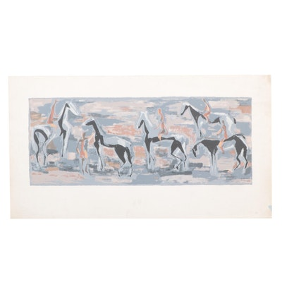 Serigraph After Eva Landori of Horses, Late 20th Century