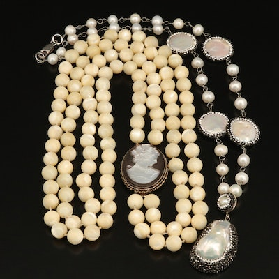 Pearl and Cameo Necklaces with 850 Silver and Sterling Clasps