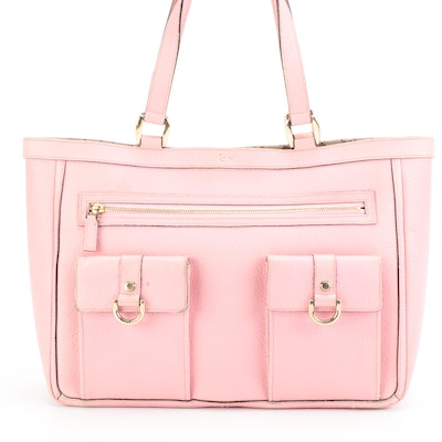 Gucci Limited Edition Abbey Tote in Pink Leather with GG Canvas Interior Trim