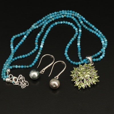 Sterling Apatite and Peridot Beaded Necklace and Pearl and Diamond Drop Earrings