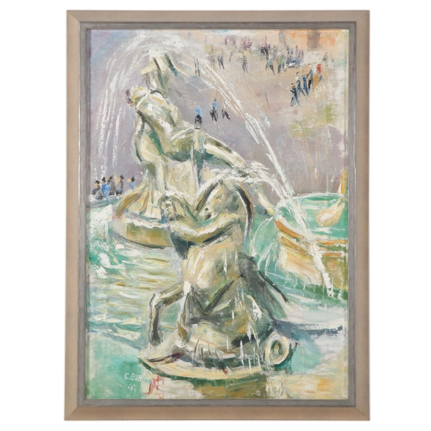 "Emerson Burkhart Oil Painting ""Asiba Fountain - Rome, Italy,"" 1944"