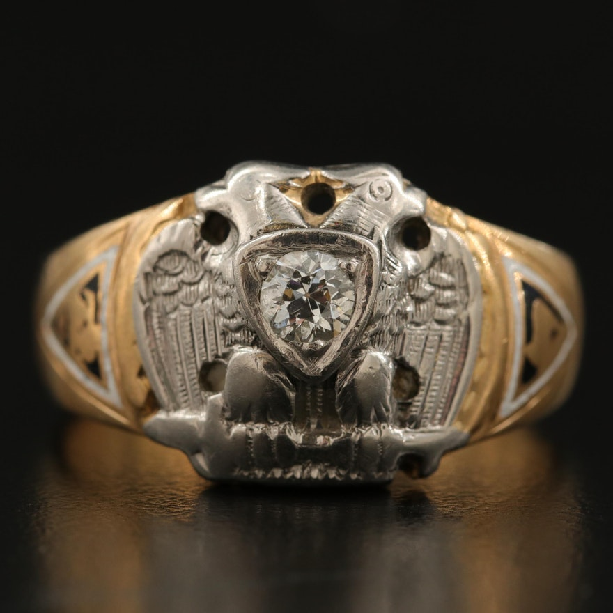 14K Diamond Masonic Scottish Rite Ring with Palladium Accent