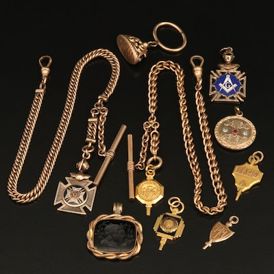 Vintage and Antique Watch Chains, Fobs and Pendants Featuring Sard Intaglio