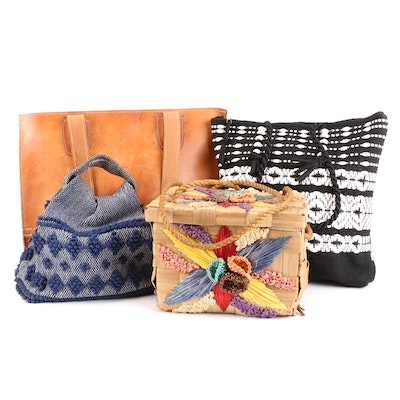 Leather Tote, Straw Basket, Woven Tote and Small Woven Bag