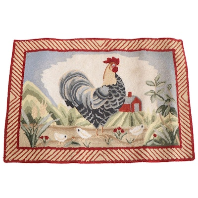 2'10 x 1'11 Hand-Hooked Rooster Motif Kitchen Accent Rug