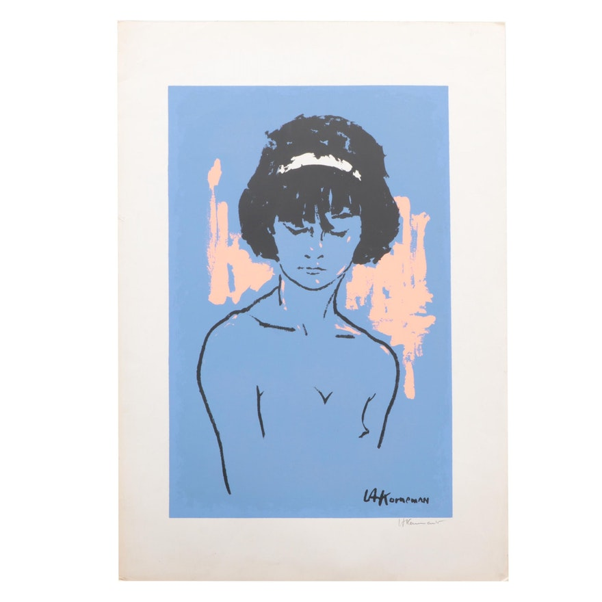 L.A. Korneman Abstract Serigraph of Female, Mid-Late 20th Century