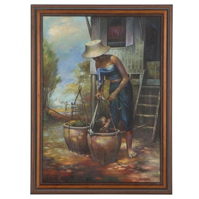 V.N. Montri Oil Painting of Mother and Child, Mid-Late 20th Century