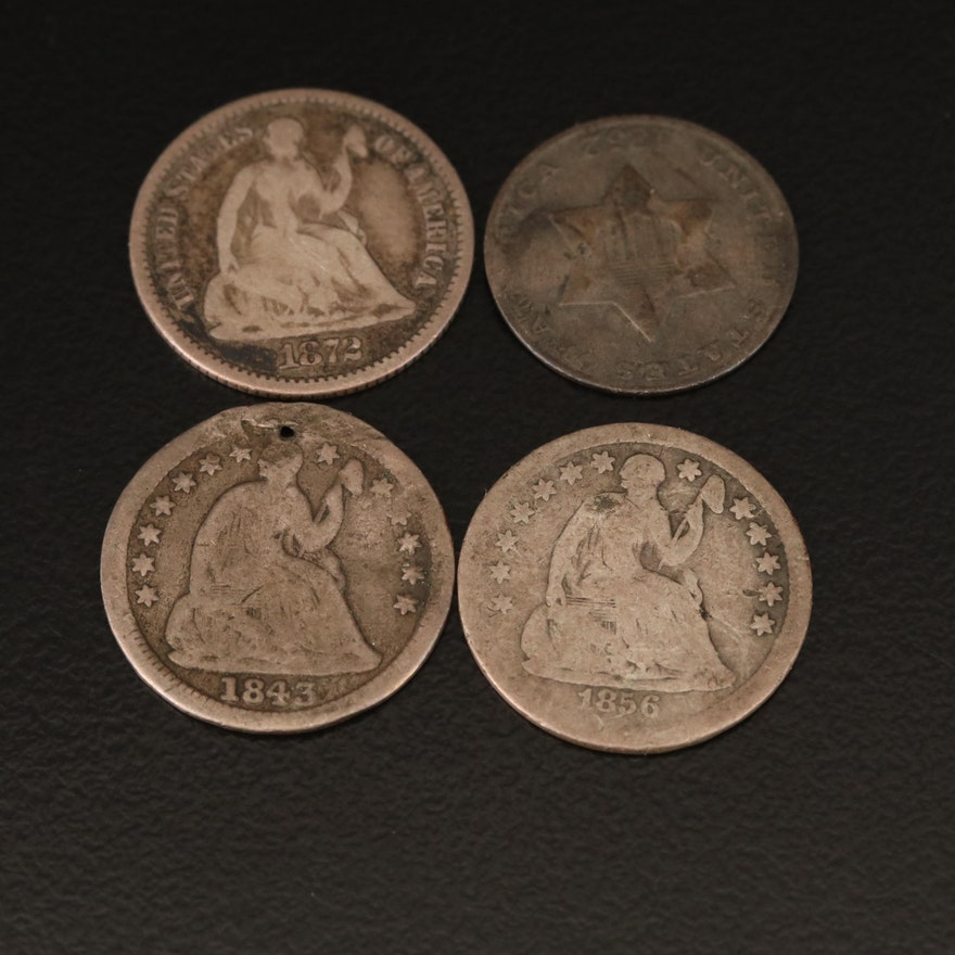 Three Seated Liberty Silver Half Dimes and 1852 Silver Three-Cent Piece
