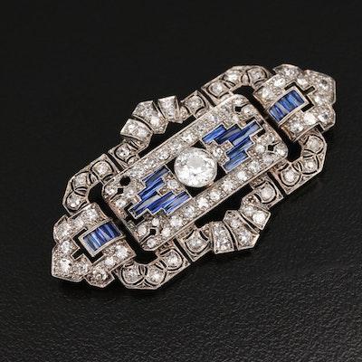 Art Deco Platinum 2.27 CTW Diamond and Sapphire Brooch with Milgrain Detail