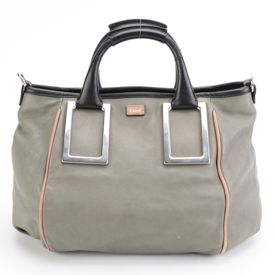 Chloé Ethel Two-Way Satchel Bag in Grey Leather