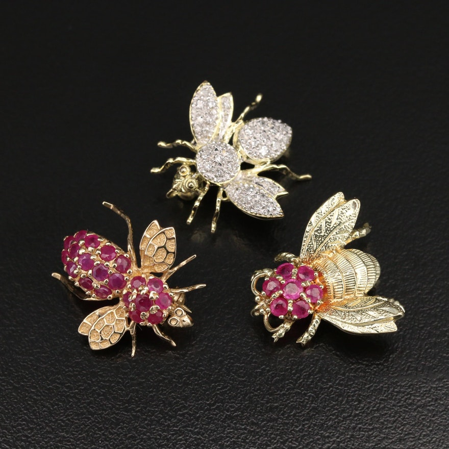 14K Ruby and Diamond Insect and Bee Brooches
