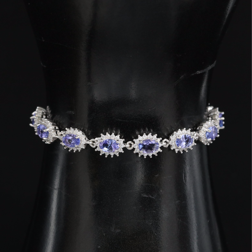Sterling Tanzanite and Cubic Zirconia Bolo Bracelet