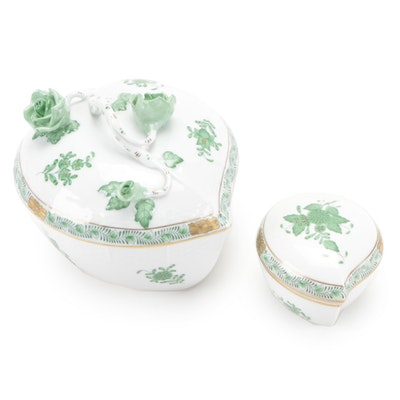 """Herend """"Chinese Bouquet Green"""" Heart Shaped Bonbonnière and Trinket box"""