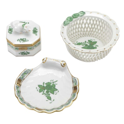 """Herend """"Chinese Bouquet Green"""" Trinket Box, Reticulated Bowl and Ashtray"""