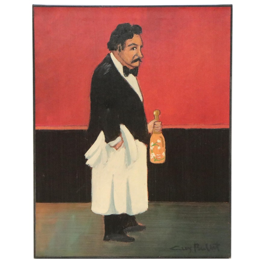 Guy Buffet Oil Painting of Waiter with Wine, Late 20th Century