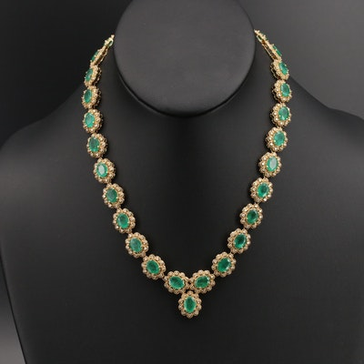 14K Emerald and 4.65 CTW Diamond Halo Link Necklace