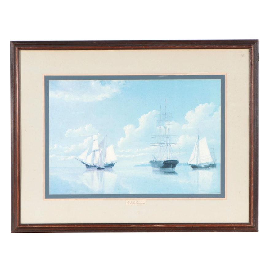 """Nautical Offset Lithograph After William Bradford """"Marine View"""""""