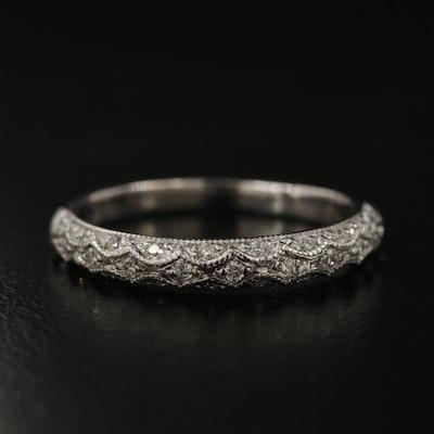 14K Scalloped Diamond Band with Milgrain Detail