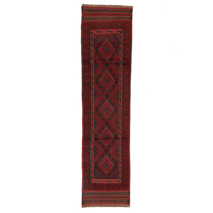 1'11 x 8' Handwoven Afghan Turkmen Mixed Technique Carpet Runner
