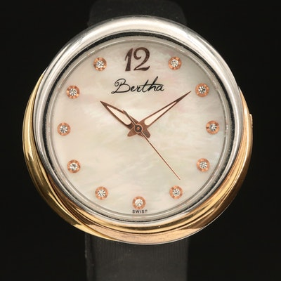 Swiss Bertha Stainless Steel Wristwatch with Mother of Pearl Dial