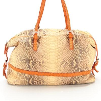 Fendi Selleria Python Skin Shoulder Bag with Topstitched Leather Trim