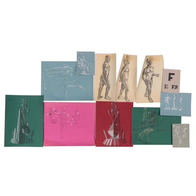 Figural and Sculpture Study Drawings, Late 20th Century
