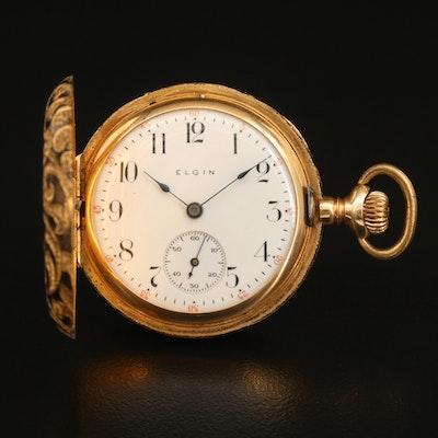 14K Elgin Ornate Hunting Case Pocket Watch