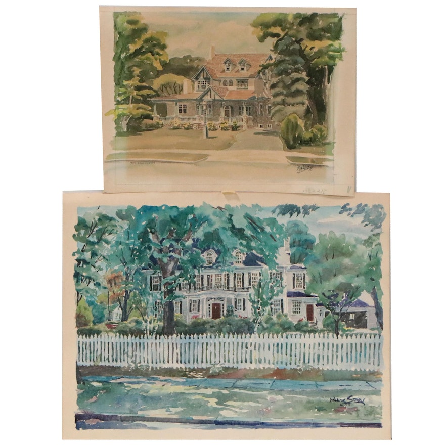 William Stavely Watercolor Paintings of Houses, Late 20th Century