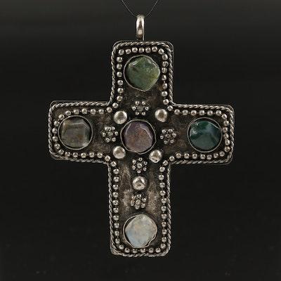 Artisanal Agate and Chalcedony Cross Pendant