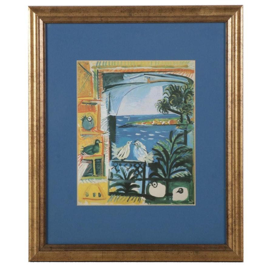 """Offset Lithograph After Pablo Picasso """"Studio (Pigeons) (Velazquez)"""""""