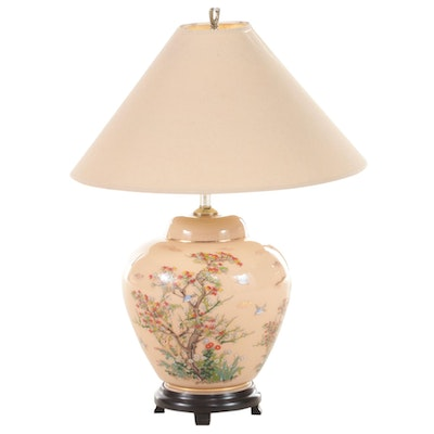 Asian Inspired Painted Ceramic Table Lamp