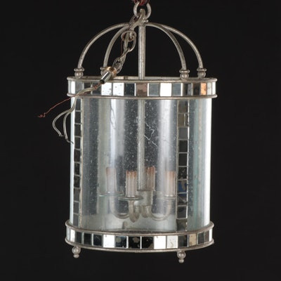 Mirrored Mosaic Tile and Seed Glass Four-Light Lantern Pendant
