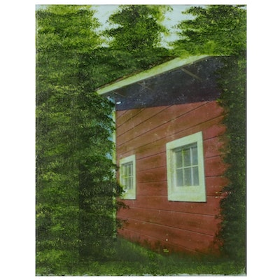 Cindy Machin Forest Cottage Embellished Offset Lithograph, 2021