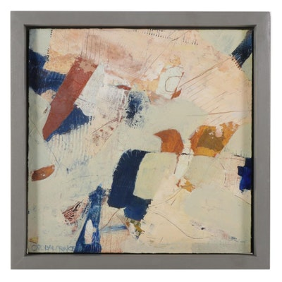 """Carolyn Prince Mixed Media Painting """"Where Land Falls,"""" 2021"""