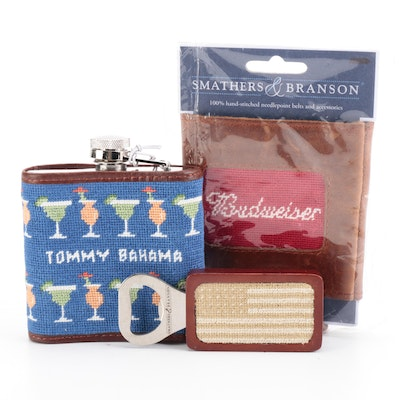 Smathers & Branson Needle Point Tommy Bahama Flask, Budweiser Koozie and More