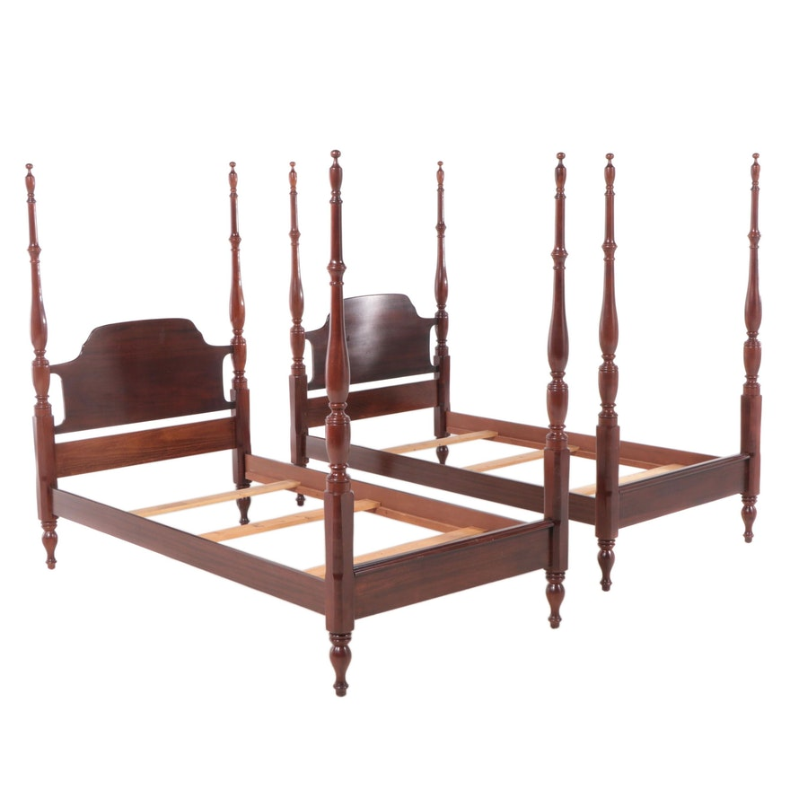 Pair of Mahogany Stained Wood Four Post Twin Beds