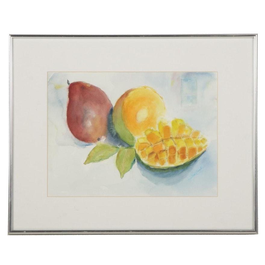 "Sandra L. L. Gaunt Watercolor Painting ""Mango Dream, or How To Eat a Mango"""