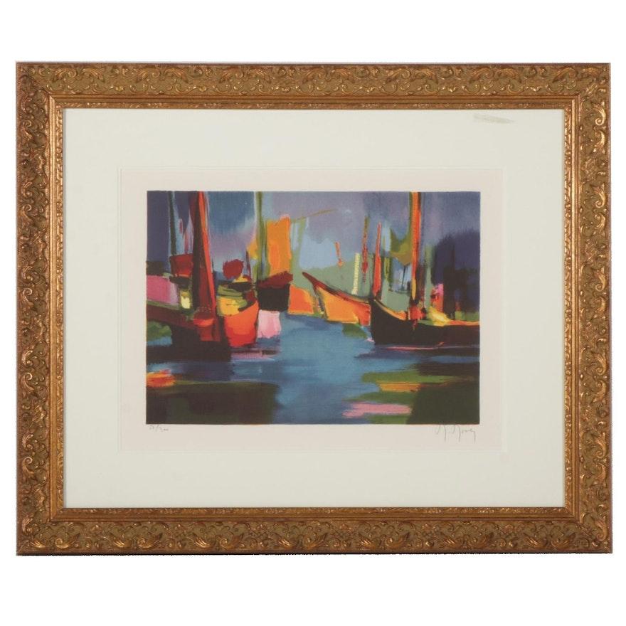 """Marcel Mouly Color Lithograph """"Marine le Soir,"""" 1989"""