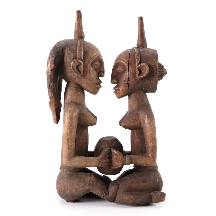 Luba Inspired Carved Wood Figures, Central Africa