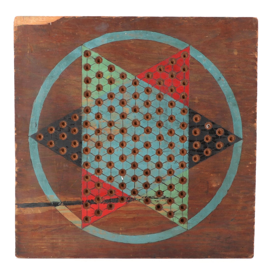 American Primitive Paint-Decorated and Etched Plywood Double-Sided Gameboard
