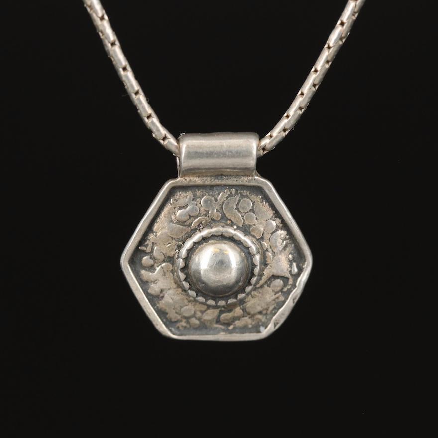 Sterling Hexagonal Pendant Necklace