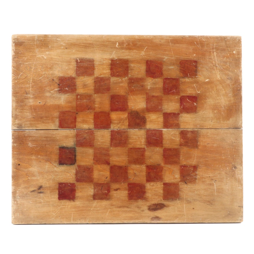 American Primitive Painted Pine Gameboard, Early 20th Century