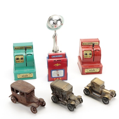 """Duro Mold """"Destination Moon"""" and Other Metal Coin Banks"""