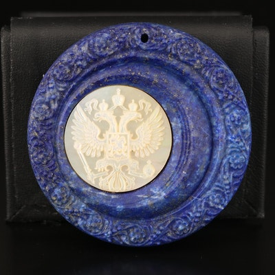 Carved Lapis Lazuli and Mother of Pearl Pendant