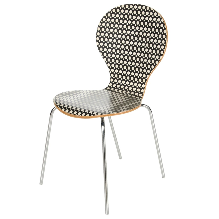 Mid Century Modern Black with White Dots Bent Plywood Side Chair