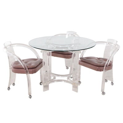 Hill Manufacturing Co. Lucite and Glass Table and Chairs, Late 20th Century