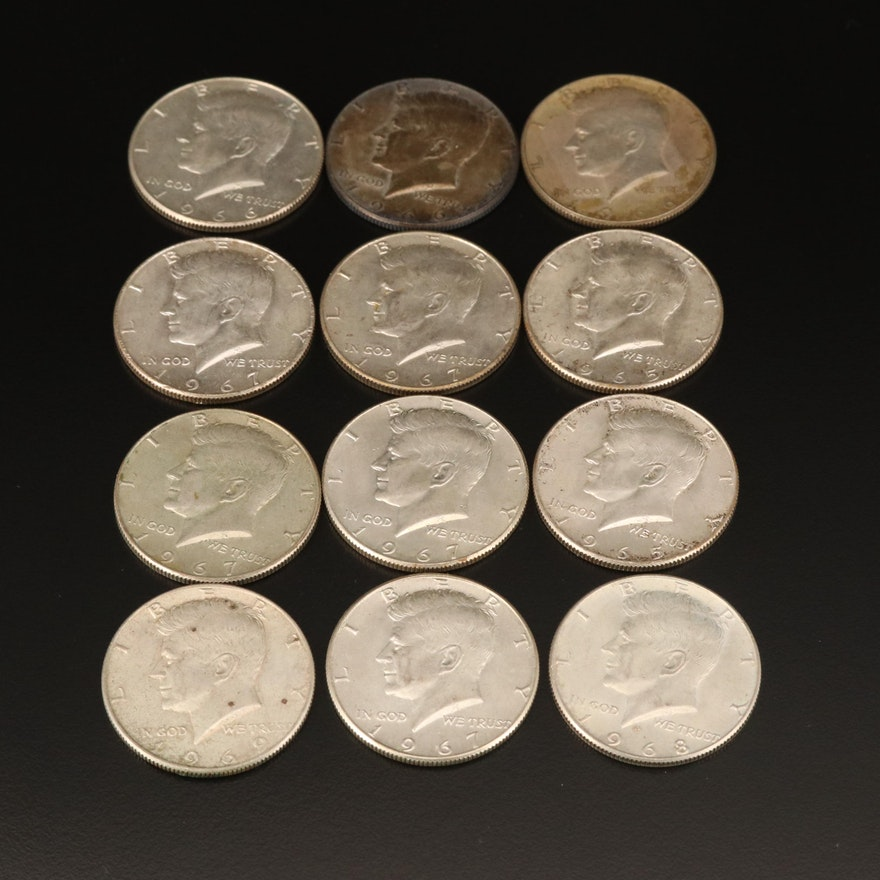 Twelve Kennedy Half Dollars, 1965–1969