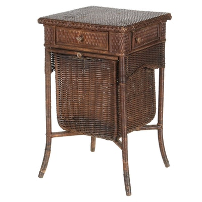 Victorian Wicker Sewing Basket Stand, Late 19th Century