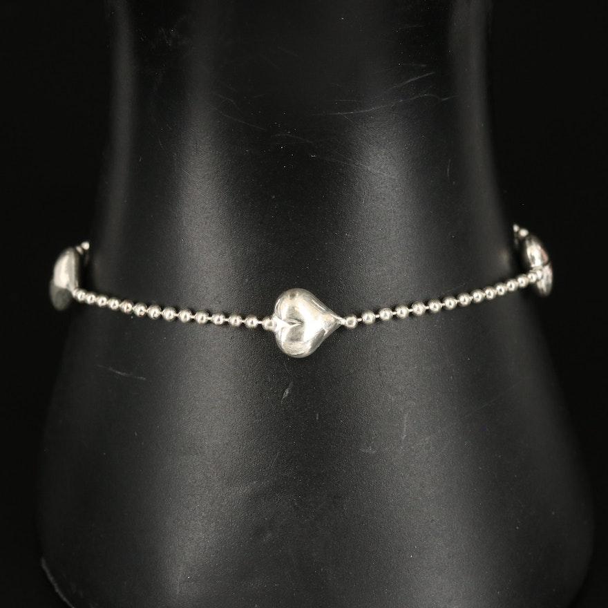 Italian Sterling Heart Station Bracelet